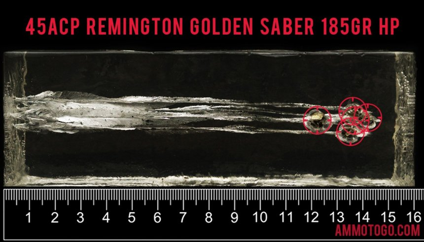 25rds - 45 ACP Remington Golden Saber 185gr. HP Ammo fired into ballistic gelatin