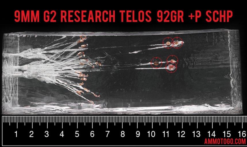20rds – 9mm +P G2 Research Telos 92gr. SCHP Ammo fired into ballistic gelatin