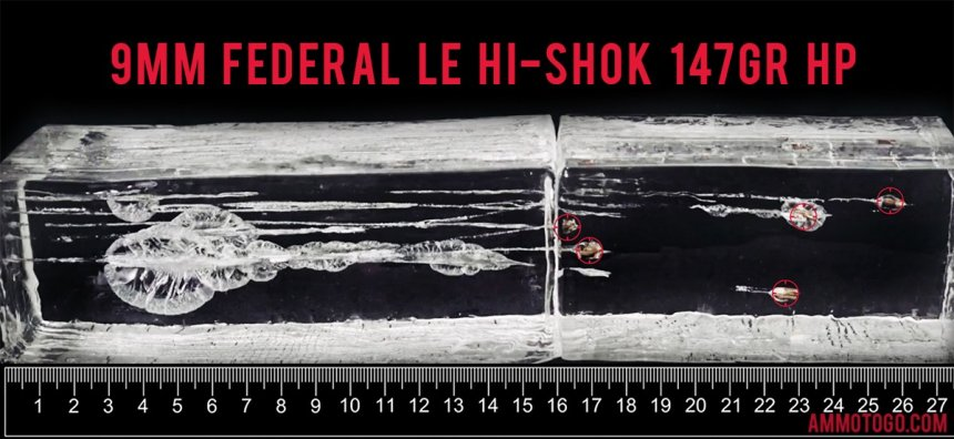 Federal Ammunition 147 Grain 9mm Luger (9x19) ammunition fired into ballistic gelatin