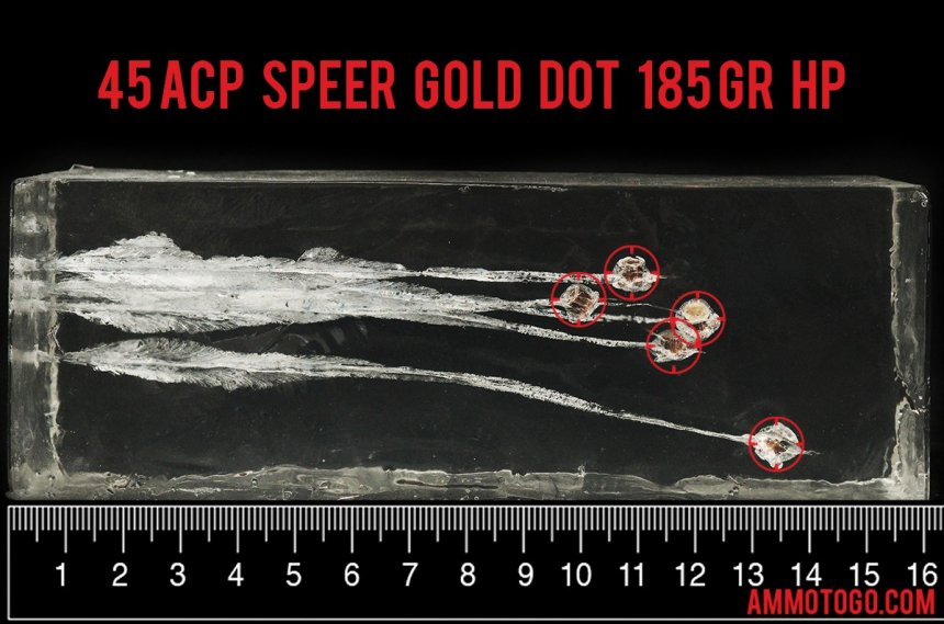 Gel test results for Speer 185 Grain Jacketed Hollow-Point (JHP) ammo