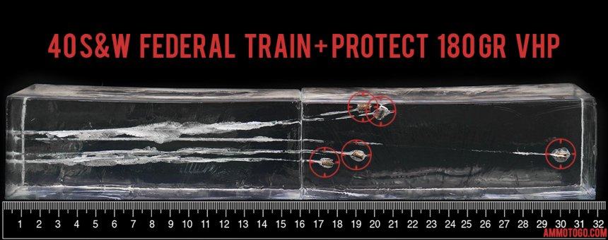 Gel test results for Federal Ammunition 180 Grain Jacketed Hollow-Point (JHP) ammo