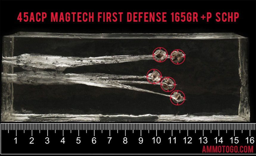 Magtech 165 Grain 45 ACP (Auto) ammunition fired into ballistic gelatin