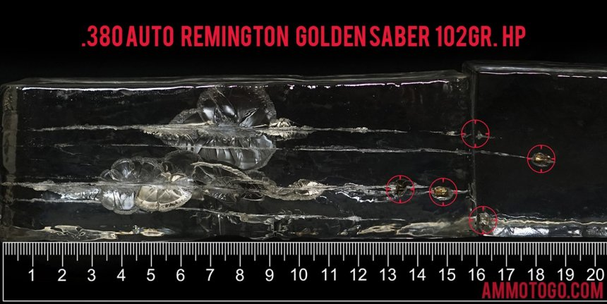 Gel test results for Remington Ammunition 102 Grain Jacketed Hollow-Point (JHP) ammo