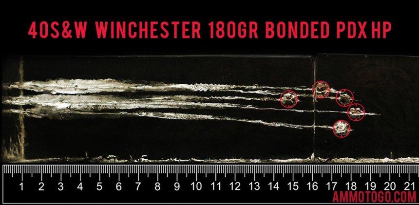 Winchester Ammunition 180 Grain 40 Smith & Wesson ammunition fired into ballistic gelatin