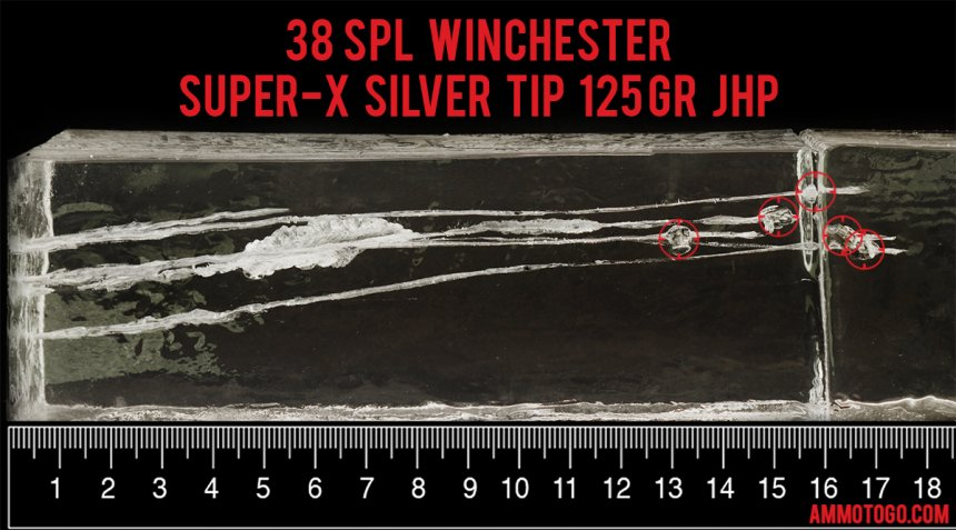 500rds - 38 Special +P Winchester 125gr. Super-X Silvertip Jacketed Hollow Point Ammo fired into ballistic gelatin
