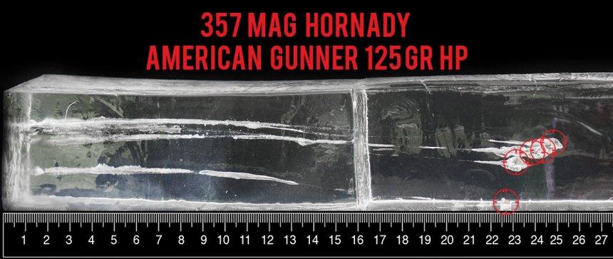 Hornady Ammunition 125 Grain 357 Magnum ammunition fired into ballistic gelatin