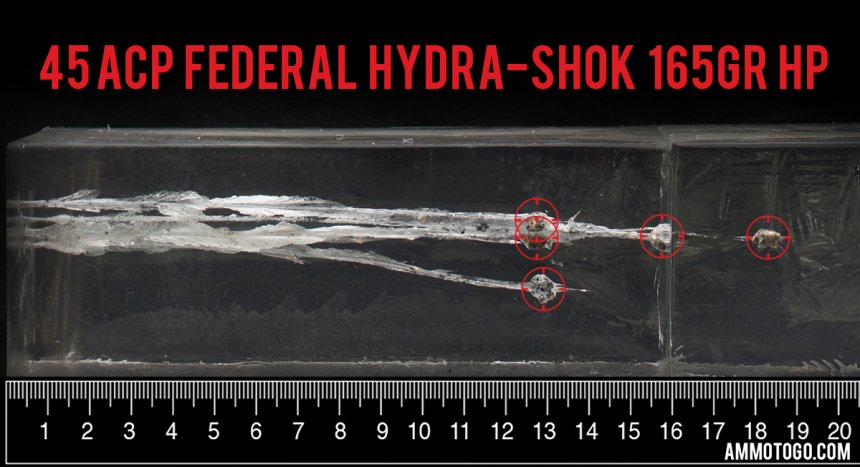20rds - 45 ACP Federal Hydra-Shok PD Low Recoil 165gr. HP Ammo fired into ballistic gelatin