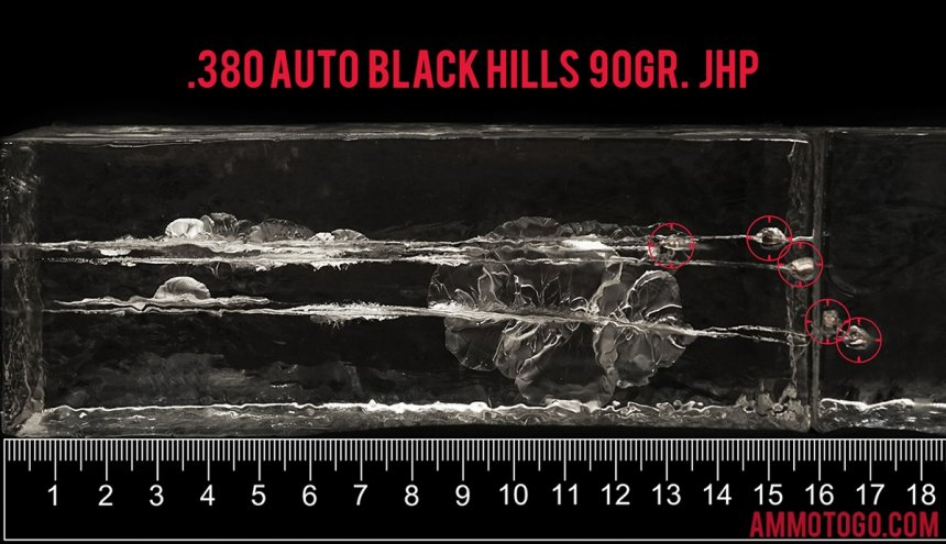 20rds - 380 Auto Black Hills 90gr. Jacketed Hollow Point Ammo fired into ballistic gelatin