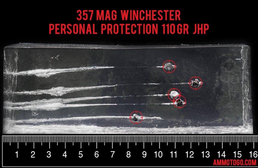 Winchester Ammunition 110 Grain 357 Magnum ammunition fired into ballistic gelatin