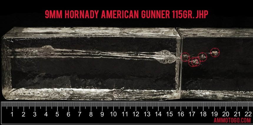 Hornady Ammunition 115 Grain 9mm Luger (9x19) ammunition fired into ballistic gelatin