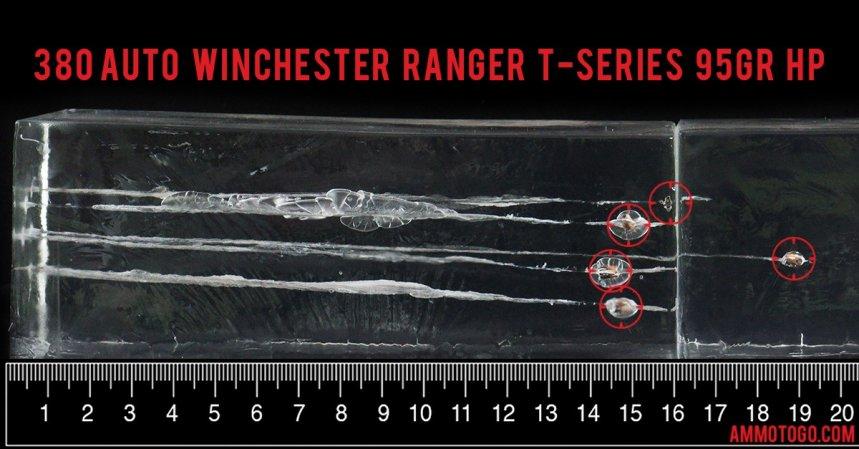 Winchester Ammunition 95 Grain 380 Auto (ACP) ammunition fired into ballistic gelatin