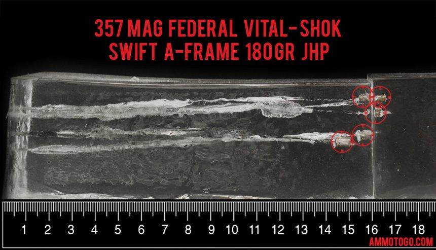 20rds - 357 Mag Federal Vital-Shok 180gr. Swift A-Frame JHP Ammo fired into ballistic gelatin