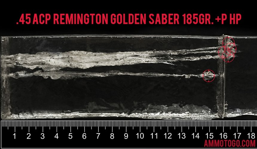 Remington Ammunition 185 Grain 45 ACP (Auto) ammunition fired into ballistic gelatin