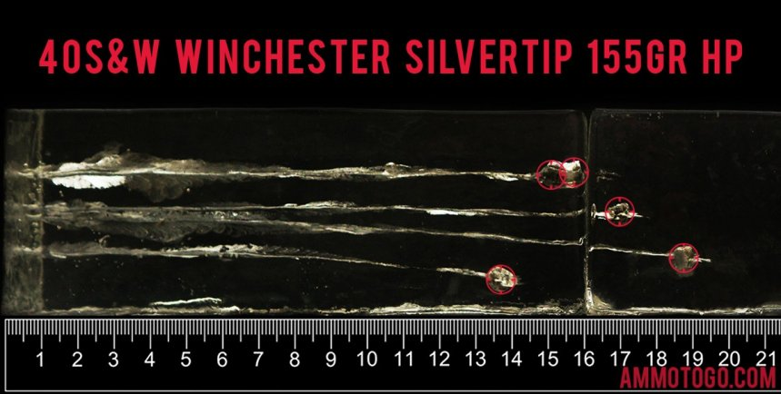 Winchester Ammunition 155 Grain 40 Smith & Wesson ammunition fired into ballistic gelatin