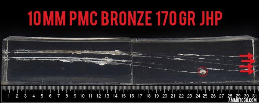 PMC Ammunition 170 Grain 10mm Auto ammunition fired into ballistic gelatin