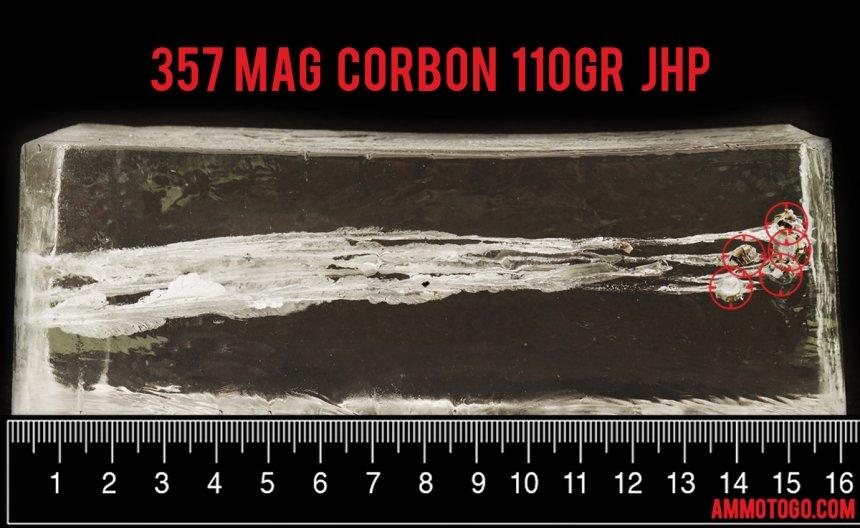 Corbon 110 Grain 357 Magnum ammunition fired into ballistic gelatin