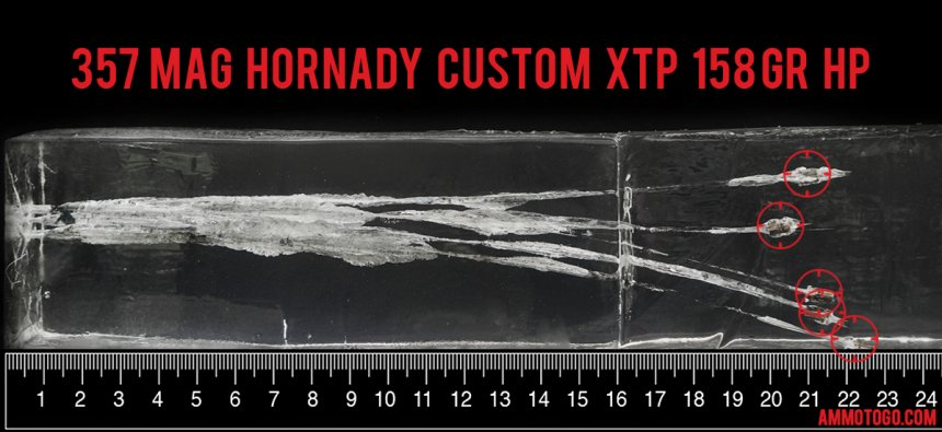 Hornady Ammunition 158 Grain 357 Magnum ammunition fired into ballistic gelatin