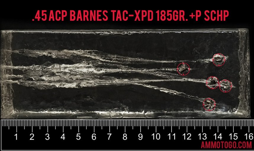20rds – 45 ACP +P Barnes TAC-XPD 185gr. TAC-XP SCHP Ammo fired into ballistic gelatin