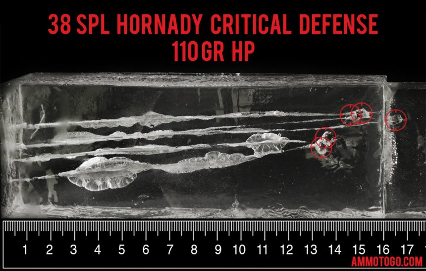 Hornady Ammunition 110 Grain 38 Special ammunition fired into ballistic gelatin