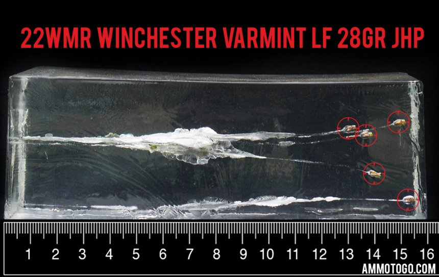 Gel test results for Winchester Ammunition 28 Grain Jacketed Hollow-Point (JHP) ammo