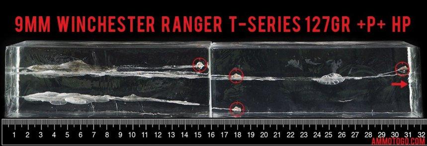 50rds – 9mm +P+ Winchester Ranger T-Series 127gr. JHP Ammo fired into ballistic gelatin