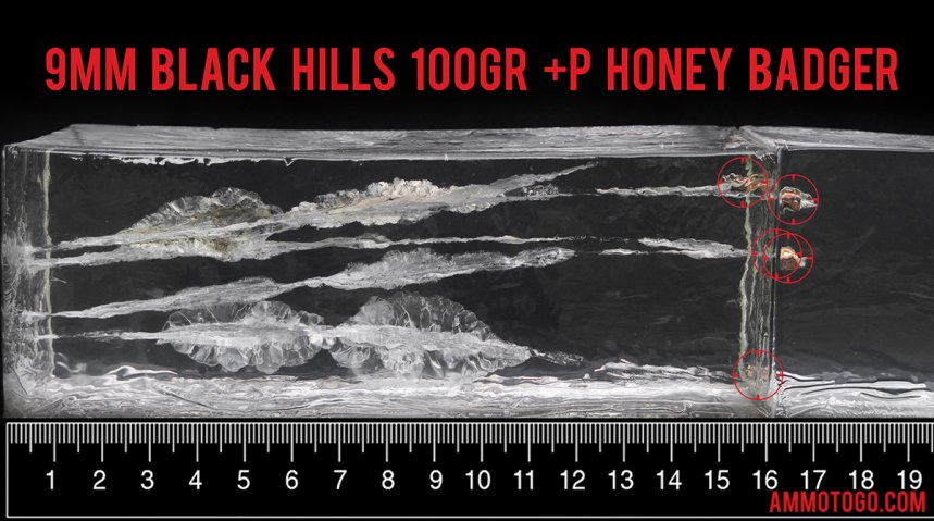 Gel test results for Black Hills Ammunition 100 Grain HoneyBadger ammo