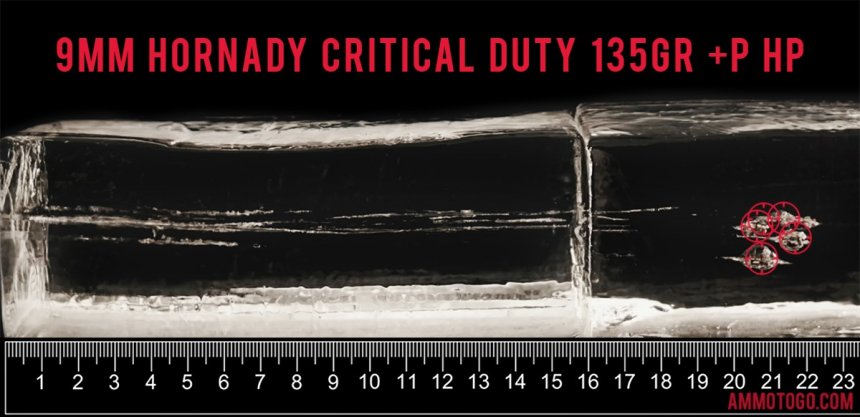 Gel test results for Hornady Ammunition 135 Grain Jacketed Hollow-Point (JHP) ammo