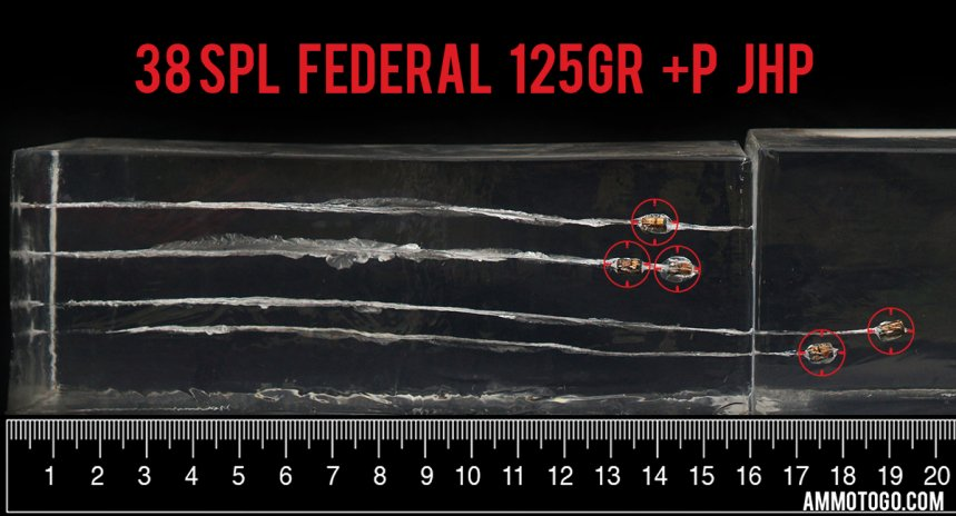 Federal Ammunition 125 Grain 38 Special ammunition fired into ballistic gelatin