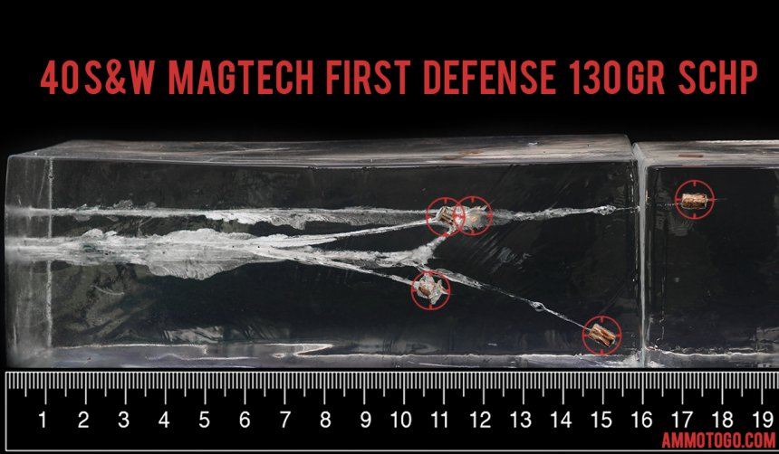 20rds - 40 S&W Magtech 130gr. First Defense Solid Copper HP Ammo fired into ballistic gelatin