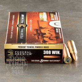 200rds – 308 Win Federal Gold Medal 168gr. MatchKing BTHP Ammo