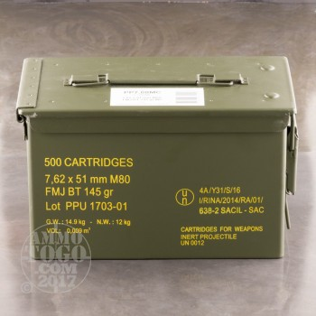Image of 7.62x51mm M80 - 145 Grain FMJBT - Prvi Partizan Ammo Can - 500 Rounds