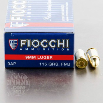 Image of 1000rds - 9mm Fiocchi 115gr. FMJ Ammo