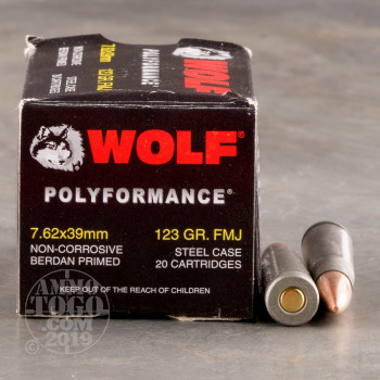 Image of 1000rds - 7.62x39 WPA Polyformance 123gr. FMJ Ammo