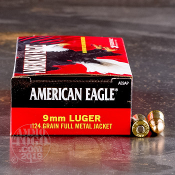 Image of 1000rds - 9mm Federal American Eagle 124gr. FMJ Ammo