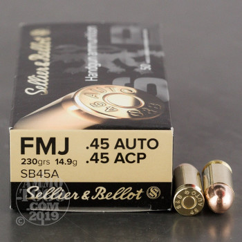 Image of 1000rds – 45 ACP Sellier & Bellot 230gr. FMJ Ammo