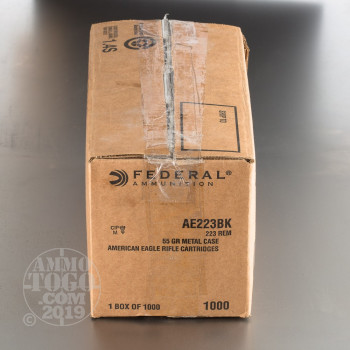 Image of 1000rds - .223 Federal American Eagle AE223BK 55gr. FMJ Ammo
