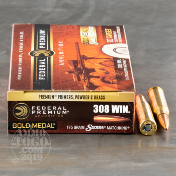 Image of 200rds - 308 Federal Gold Medal Match 175gr. BTHP Ammo