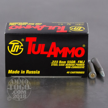 Image of 1000rds – 223 Tula 55gr. FMJ Ammo