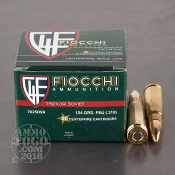 Image of 1000rds - 7.62x39 Fiocchi 124gr. FMJ Brass Cased Ammo