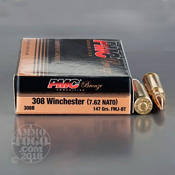 Image of 500rds - .308 PMC Bronze 147gr. FMJ-BT Ammo