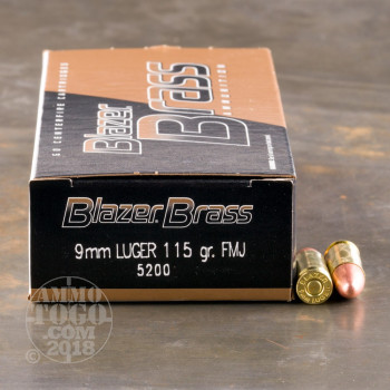 Image of 1000rds - 9mm Blazer Brass 115gr. FMJ Ammo