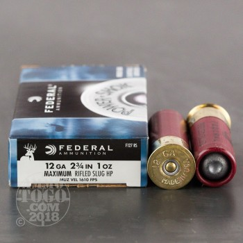 "Image of 250rds - 12 Gauge Federal Power Shok 2 3/4"" 1oz. Rifle Slug Ammo"