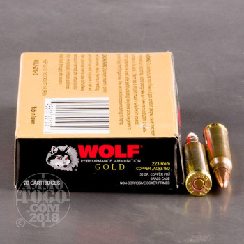 Image of 1000rds – 223 Wolf Gold 55gr. FMJ Ammo