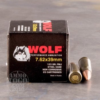 Image of 1000rds - 7.62x39 Wolf 123gr. FMJ Ammo