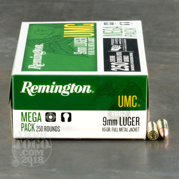 Image of 1000rds – 9mm Luger Remington UMC 115gr. MC Ammo