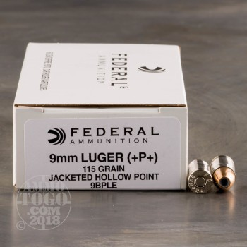 Image of 1000rds - 9mm Federal LE 115gr. +P+ Hollow Point Ammo