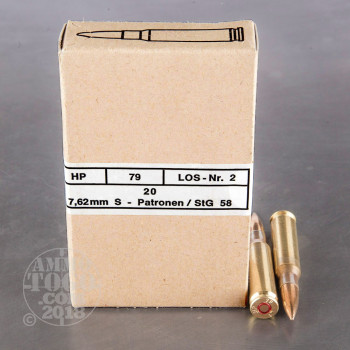 Image of 240rds - 308 Win Hirtenberger Surplus 146gr. FMJ Ammo