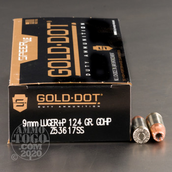 Image of 50rds – 9mm +P Speer LE Gold Dot Duty 124gr. JHP Ammo