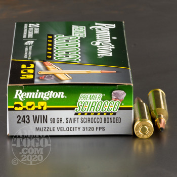 Image of 20rds - 243 Win Remington Premier 90gr. Swift Scirocco Bonded Ammo