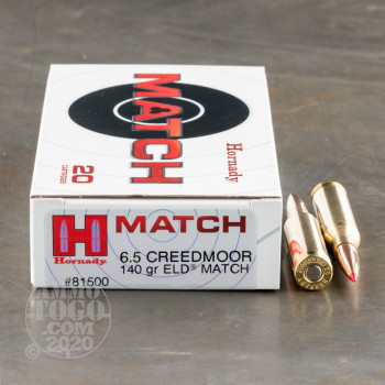 Image of 20rds - 6.5mm Creedmoor Hornady 140gr. ELD Match Ammo